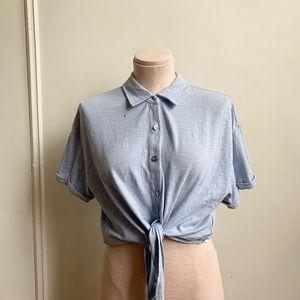 Splendid Boyfriend Tie Front Button Down Shirt